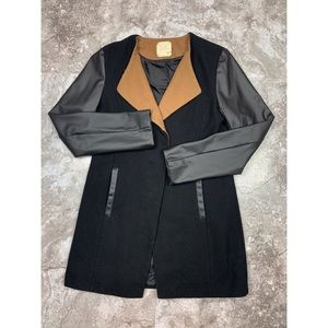 UO Pins & Needles Wool Blend Faux Leather Coat